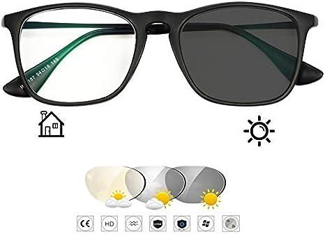 D&XQX Retro Color al Aire Libre Cambio de Gafas de Sol y Lentes Hombres Mujeres Fotocromáticas Gafas de Lectura UV400 Protección Radiológica de Resina Marco de aleación,Negro,+2.00