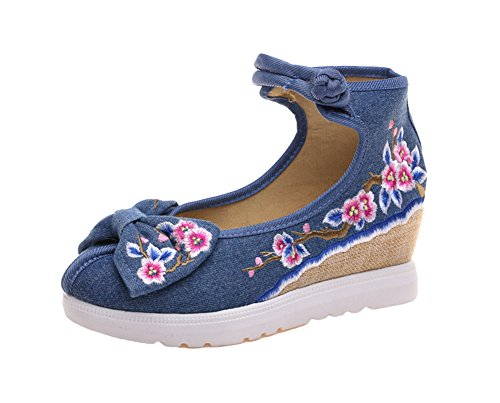 Avacostume Femmes Broderie Arcs Conception Coin Talon Robe Sandale Chaussures Bleu