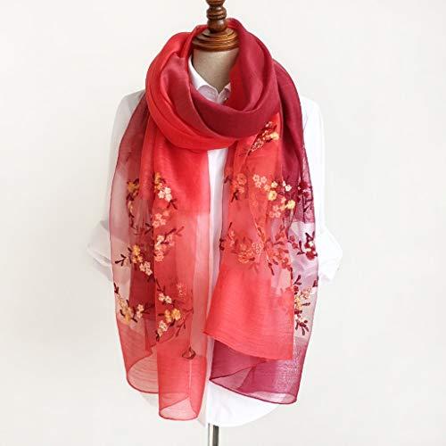 Red Creativa Pink Da Cq E Scialle Ricamato Donna Sciarpa Light Margherita Inverno Autunno color Primavera 6OOx5