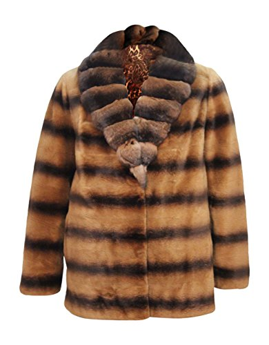 New Women's Sheared Mink Fur Jacket w/ Golden Spray Chinchilla Fur Collar M Rust
