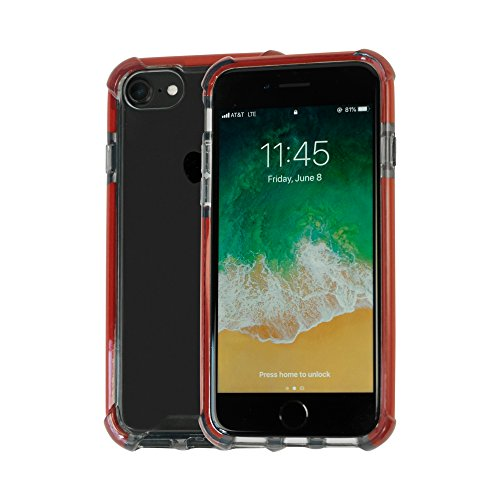 Idea Promo Clear Case Compatible for iPhone 6   6s   7   7s   8, Clear Case, Shock-absorption and Anti scratch, Heavy Duty Protective, Reinforced Corner and Rubber Bumper Shockproof (Dark Red) by Idea Promo