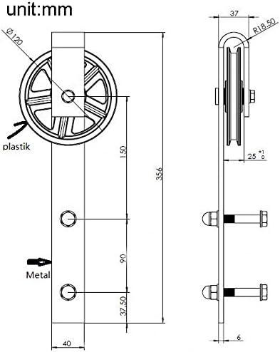 AiHom 3M Nero Big Wheel antico scorrevole fienile porta scorrevole hardware Track Kit per una porta