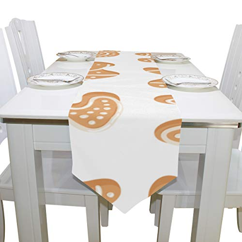 Wuhufy Biscuits Diffent Shape Dresser Scarf Cloth Cover Table Runner Tablecloth Place Mat Kitchen Dining Living Room Home Wedding Banquet Decor Indoor 13x90 Inch