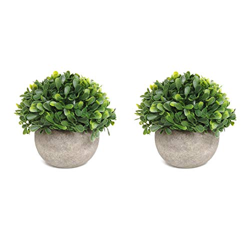 HOMFINER Mini Fake Green Topiary Plants Home Artificial Decor, Set of 2, Realistic Potted Plastic Faux Little Leaves Shrubs