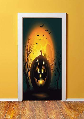 Halloween 3D Door Sticker Wall Decals Mural Wallpaper,Fierce Character Evil Face Ominous Aggressive Pumpkin Full Moon Bats Decorative,DIY Art Home Decor Poster Decoration 30.3x78.5987,Orange Dark Brow]()