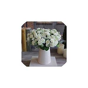 1 Bouquet 15 Buds Artificial Flowers Silk Flower Fall Roses Fake Leaf Wedding Decor,4 21