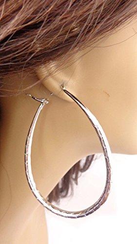Teardrop Earrings Gold or Silver Tone Plated Hoop Solid Oval Hoop Earrings (silver)
