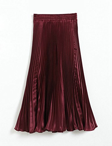 Relaxfeel Cintura elástico metálico lustre brillante seda plisada falda larga de la vendimia vino rojo