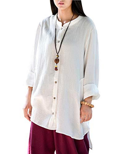 Soojun Women's Loose Fit Button Down Linen Cotton Cardigan Shirts Coat, White, Medium