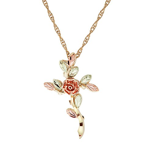 """Tree of Life Cross Pendant Necklace, Tri-Color Black Hills Gold, 18"""" by The Men's Jewelry Store (for HER)"""