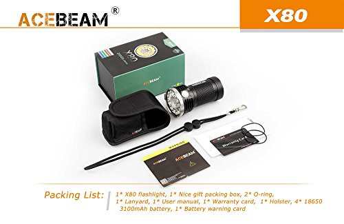 ACEBEAM X80 LED Flashlight 12x Cree XHP50.2 25000 Lumens 5-color Light Beam Flashlights Included 4 3100mah Batteries by Acebeam (Image #8)