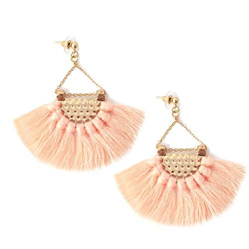 Honbay Bohemian Fan Shape Tassel Earrings Fashion Dangle Drop Earrings for Women and Girls (Light Pink)