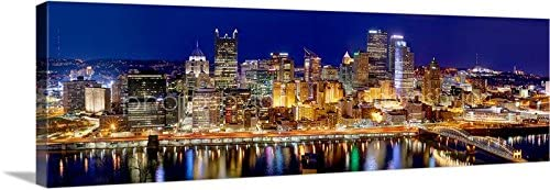 Photosbyjon Canvas 2018 Pittsburgh Skyline Night 16 Inches X 46 Inches Color City Downtown Photographic Panorama Print Photo Picture Posters Prints