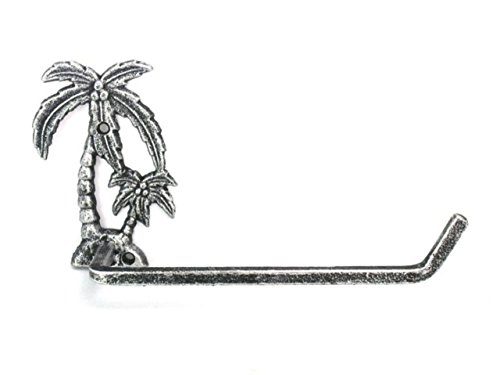 (Hampton Nautical Antique Silver Cast Iron Palm Tree Toilet Paper Holder 10