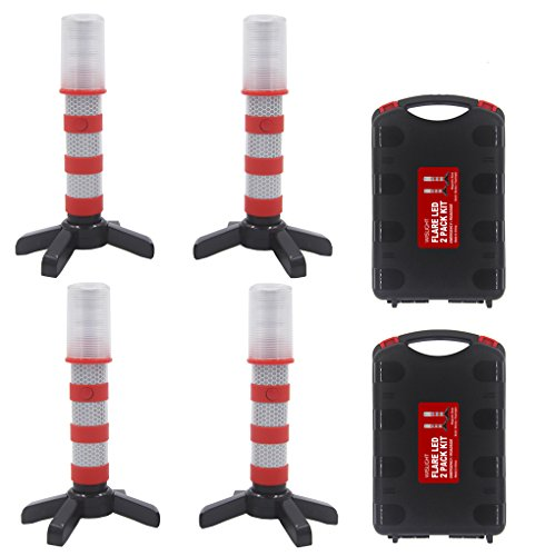 WISLIGHT LED Emergency Roadside Flashing Flares Safety Strobe Light - Road Warning Beacon, Magnetic Base, Detachable Stand, Storage Case (2 Cases = 4 PCS, Battery Not Included) ()