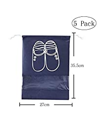 10 Packs Navy Blue Shoe Bags Trip and luggage,seasonal Packing with Transparent Window with Draw String Bag
