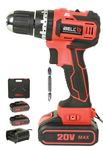 iBELL BM18-60 20V Brushless Impact Driver Drill (Cordless) with 2 Batteries, Charger, Case and Screw Driver Bit - 1 Year Warranty. 1