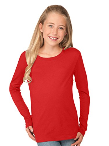 Kavio! Youth Crew Neck Long Sleeve Top Red S - Boys Red Crewneck Shirt