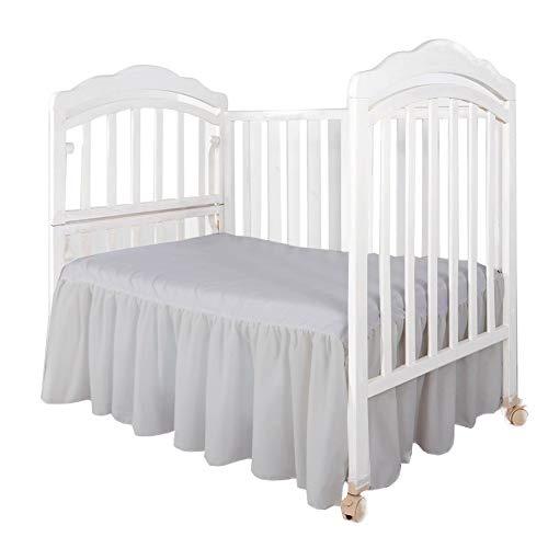 - Infant Crib Bed Skirt Ruffled with Split Corners - 100% Cotton - for Nursery Crib Toddler Bedding Crib Bed Skirt for Baby Boys or Baby Girls, 14