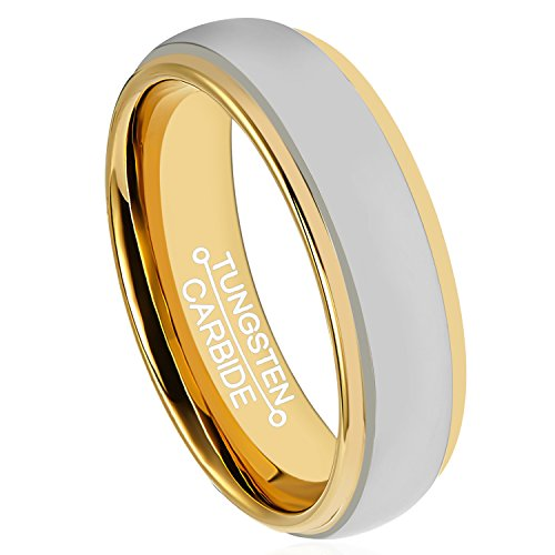 Perma Rings (HSG Tungsten Carbide Ring 6mm Wedding 18k Gold Plated Polished Round Edge Comfort Fit Band)