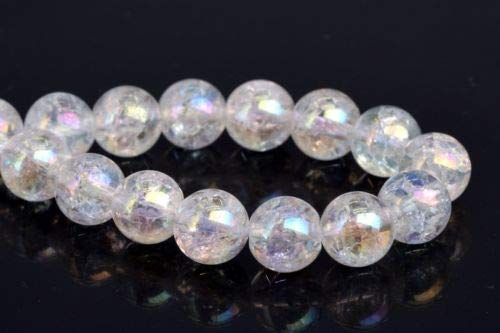 8mm Natural Rainbow Clear Crystal Quartz Crack Pattern Round Beads 7.5'' Crafting Key Chain Bracelet Necklace Jewelry Accessories Pendants -