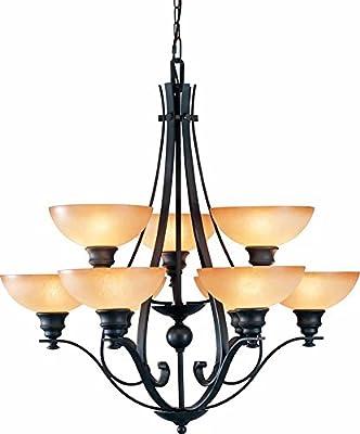 """Volume Lighting V4129-65 Rainier 9 light foundry bronze chandelier, 32"""" x 32"""" x 33"""""""
