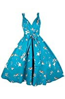 Ladies Retro Vintage 1950's Swing Full Circle Rockabilly Party Dress in Swallow Bird