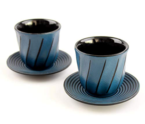 Tea Cup and Saucer Cup Set, Toptier Japanese Traditional Enameled Cast Iron Tea Cups [Coffee & Tea] with Cup Mat Pad Classic Art Wave Drinkware Tea Accessory [Set of 2] for Men Women Gifts, Blue ()