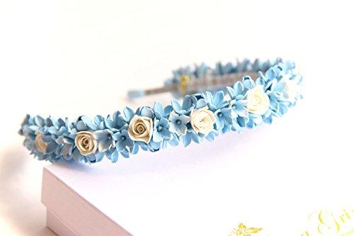 Accessories for brides HANDMADE Blue hair accessory, Headband, circlet, blue flowers headband, bridal hair piece, bridal headband, floral headband, wedding, prom hairband by Floren