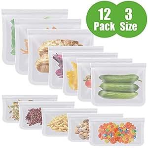 Aunus Bolsas Reutilizables para Almacenamiento de Alimentos,12 Piezas Bolsas Congelar Reutilizable,Bolsas Reutilizables para Fruta Sándwiches ...
