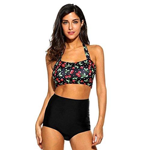 Appoi Swimsuit 2 Piece High Waist,Women Swimwear Bikini Set Print Cherry Push-Up Bandage Padded Swimsuit Beachwear Sexy (Black, M) Cherry Print Bikini Top