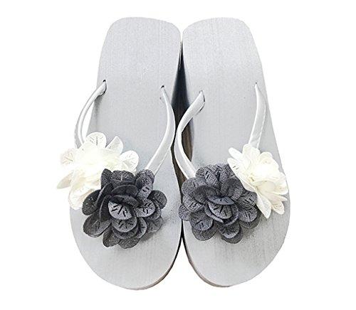 Chic-Mild Handmade Beautiful Flowers High Wedge Heel Lady Flip Flop Sandals (EUR 39/US 8.5, Grey/White)