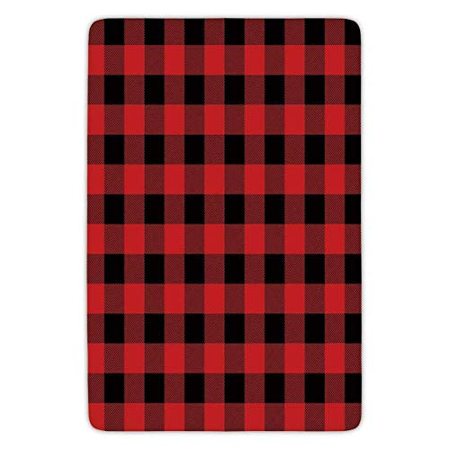 Ruandian Bathroom Bath Rug Kitchen Floor Mat Carpet,Red Plaid,Lumberjack Clothing Inspired Square Pattern Checkered Grid Style Quilt Design,Scarlet Black,Flannel Microfiber Non-Slip Soft Absorbent