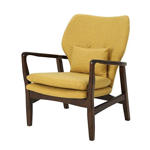 Christopher Knight Home 304780 Ventura Mid Century Modern Fabric Club Chair, Mustard