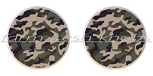 SET OF 2 KNOBS - Camouflage Color #02 Green - Camouflage Camo - DECORATIVE Glossy CERAMIC Cupboard Cabinet PULLS Dresser Drawer KNOBS Green Color Drawer Pulls Knobs