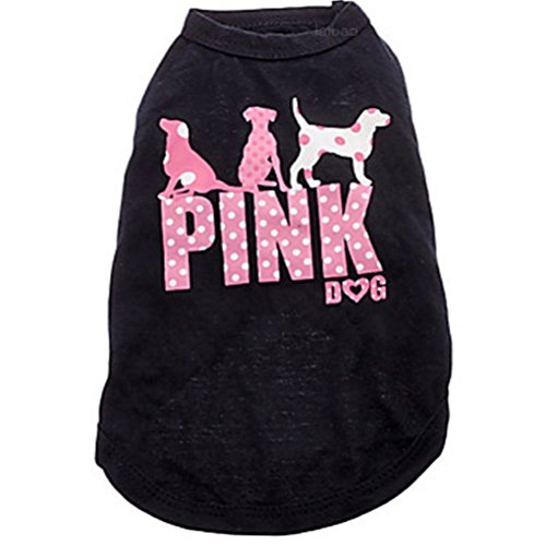 Ollypet Small Dog Clothes for Puppy Girl - Pink Dog - Cute Cat Shirt Summer Vest Tank Top - Clothing for Chihuahua Yorkie Black Cotton Outfit for Pets S