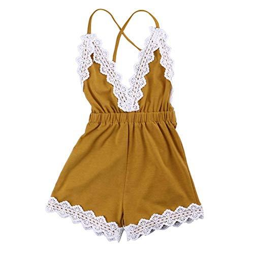 (MiyaSudy Newborn Baby Girls Halter Romper Lace Jumpsuit Summer Clothes)