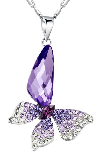 Stylized Butterfly Wing Drop Austrian Crystal Pendant Necklace (Purple)