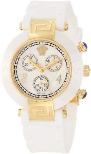 Versace Women's 92CCP1D497 S001 Reve Ceramic Bezel Gold Ion-Plating Chronograph White Rubber Watch