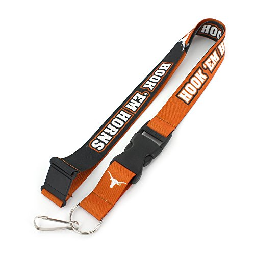 Texas Longhorns Ncaa Key Ring - aminco NCAA Texas Longhorns Slogan Lanyard Fan Keychain, Orange