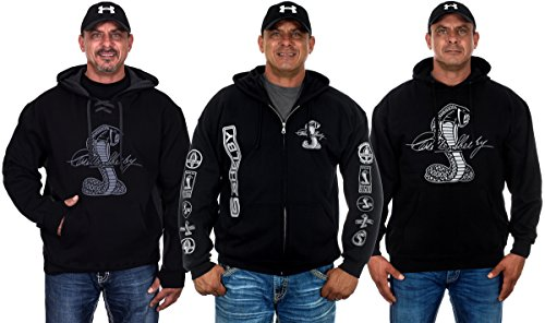 JH DESIGN GROUP Mens Shelby Cobra Hoodies With Exclusive American Flag Sticker (2X, CLG2-black) Xenon Cobra Design