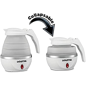 Gourmia GK360 Travel Foldable Electric Kettle - Fast Water Boiling - Food Grade Silicone - Small, Collapsible, Portable - Boil Dry Protection - .8 Qt - 110/120v - 820W - White