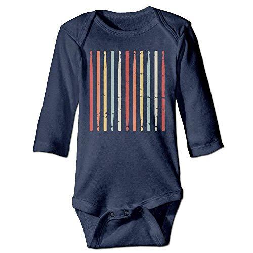 Wave VV Baby Girls Retro Drum Sticks Long Sleeve Climbing Clothes Bodysuits 100% Cotton, Suit 6-24 Months Navy