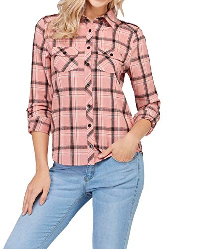 (ClothingAve. Women's Long Sleeve Flannel Plaid Shirt Collection,Pink - Lo,Large)