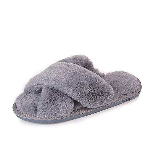 (Gray Cross Slippers Fuzzy Fluffy Faux Fur House SPA Cute Open Toe Slippers for Women Girl/Women8-8.5 Men7-7.5)
