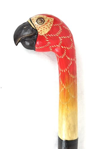 HAND CARVED WOOD PARROT BIRD WALKING STICK CANE ART WHIMSICAL TROPICAL -