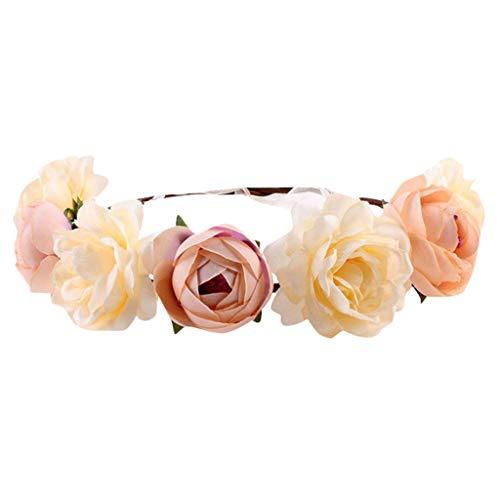 BCDshop Women Flower Headband Wreath Headpiece Floral Wedding Garland Festivals Photo Props (Khaki) - Pieces Headpiece