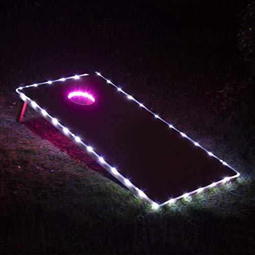 LED Cornhole Lights, Cornhole Led Lights fit for Cornhole Boards, Cornhole Bags, Backyard Bean Bag Toss Game, Two Pink Cornhole Rings Lights and Two White Cornhole Edge ()