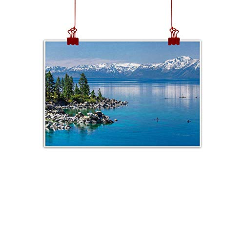 int Landscape,Blue Waters of Lake Tahoe Snowy Mountains Pine Trees Rocks Relax Shore,Light Blue Green Grey 32