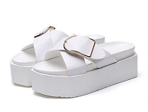 Sommer Pantoffeln weibliche wilde dicke Kruste Muffin flache Schuhe Sandalen und Pantoffeln weibliche Persönlichkeit Wort white